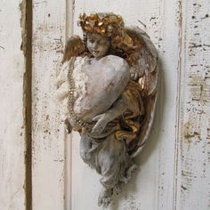 Angel statue wall sculpture with crown shabby by AnitaSperoDesign, $170.00