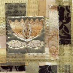 Collage in Gold - 12 cm x 12cm fabric collage.     Aileen Clarke Crafts on flickr