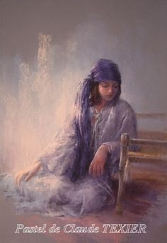 Eastern day-dreaming by Claude Texier - Pastel Soft Pastel Art, Pastel Artwork, Pastel Drawing, Soft Pastels, Pastel Paintings, Portraits Pastel, Watercolor Portraits, Illustrations Pastel, Medium Art