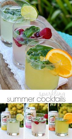 Sparkling summer cocktails in lemon lime, mandarin orange and raspberry. #WaterOnlyBetter #ad