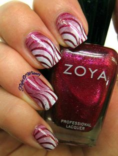 Red and white ombre glitter stripe nailart #nailart #nails #white #red #ombre #glitter #stripe #animalprint