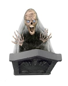 Jumping Skull with Tombstone Animated Decoration - Freak out your guests when you decorate your haunted house using the Jumping Skull with Tombstone. This creepy animated decoration features eerie soun Halloween Spirit Store, Halloween Goodies, Halloween Items, Holidays Halloween, Halloween Fun, Halloween Yard Decorations, Holiday Decorations, Halloween Animatronics, Creepy Carnival