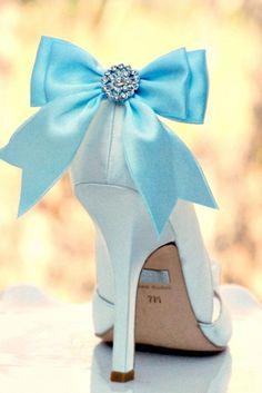 Sparkly Blue Bow Shoe Clips Shiny Rhinestones by sofisticata, Custom made colors! http://sofisticata.etsy.com