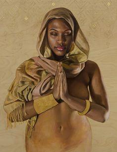 """Beyond the Sea"" - Sara Golish, oil and gold leaf on panel {contemporary figurative realism fine art beautiful african-american discreet semi-nude black woman torso cropped art painting #loveart} saragolish.com"