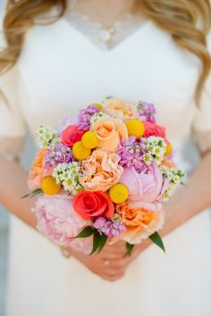 Is it possible to fall in love with a bouquet? Bright and beautiful roses + peonies + billy balls + daisies!