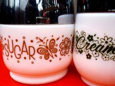 Vintage Gemco milk glass matching creamer sugar