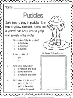 Nothing beats playing in puddles! FREE reading comprehension!