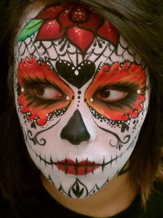My first sugar skull.  Artist: Manja Warner  Model: Olivia Powers