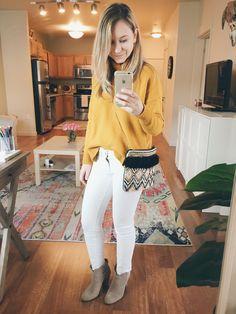 Mustard Sweater White Jeans