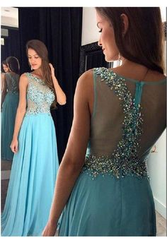2017 Light Sky Blue Long Prom Dresses,Sleeveless Prom Dress,Sheer Illusion Beading Special Occasion Party Gowns For Girls,See Through A-line Chiffon Evening Dress,N85