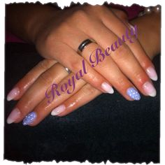 Summer lovin... A lovely french gel manicure with a lavender ring finger... For some bling, we used Swarovski elements instead of  polka dots...