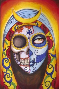 Sugar Skull Our Lady of Guadalupe 8x12 original by ShayneoftheDead, $1200.00