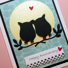 Anniversary Card, Owls Silhouette Handmade Greeting Card, Owls Congratulations Card, Card via Etsy Emily & Dymond Wedding Anniversary Cards, Wedding Cards, Happy Anniversary, Diy Wedding, Owl Punch Cards, Tarjetas Diy, Owl Card, Congratulations Card, Love Cards