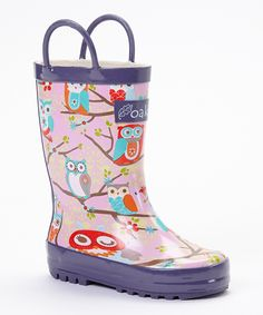 Look at this Oakiwear Pink & Mint Owl Rain Boots on #zulily today!