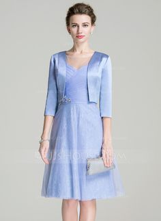 [CA$ 198.85] A-Line/Princess Scoop Neck Knee-Length Tulle Mother of the Bride Dress With Ruffle Beading Sequins