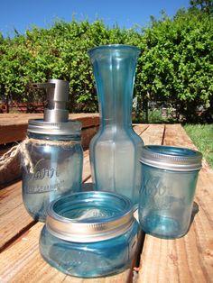 Polar Blue Mason Jar Soap Dispenser Set  by SwiftRiverCreations, $32.50