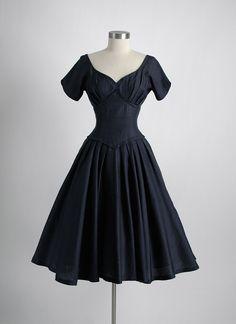 1950s dark blue raw silk evening dress * hemlockvintage.com