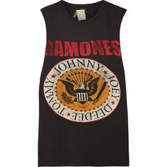 MadeWorn Ramones distressed printed cotton-jersey tank (£140) ❤ liked on Polyvore featuring tops, shirts, tank tops, t-shirts, black, ripped shirt, vintage tops, colorful shirts, destroyed shirt and ripped tank top