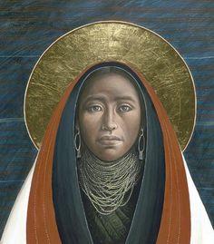 Santíssima Virgem Maria, pintada de acordo com a cultura indígena na América do Norte.