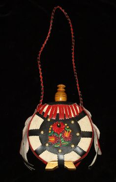 Hand Made Traditional Hungarian Folk Wooden Felt & Leather Flask from the Hungarian Embroidery, Made Of Wood, Vintage Home Decor, Floral Embroidery, Flower Patterns, Flask, Felt, Etsy Shop, Traditional