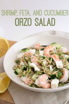 This Shrimp Cucumber Feta Orzo Salad recipe is perfect for bringing along to summer BBQs for a light and refreshing option!  | memorial day recipes | easy shrimp recipes | summer bbq recipes | picnic ideas |