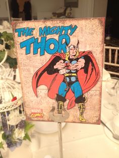 Avengers themed wedding - table cards