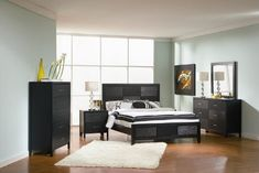 Inland Empire Furniture Hampton Black Asian Hardwood Unique Wood Grain Platform California King Bed ** Learn more by visiting the image link.