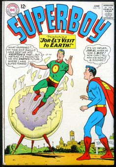 Superboy #121, A young Jor-el time machine lands him in the future on Earth & he meets his son.