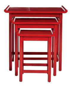 Red Chow Nesting Tables by Downtown from Profiles