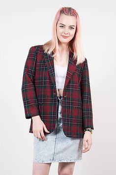 Vintage Red Check Plaid Blazer Jacket Oversize Casual Womens Tartan Casual  8 3