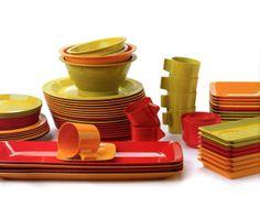 Fiskars Fiskamin - melamine dishes from the 70's.