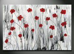 ORIGINAL Abstract Modern Heavy Texture Impasto Acrylic Painting with red Poppies flower Field by Orit 36x24 large fine art of love