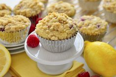 Raspberry Lemonade Crumb Muffins have a fresh-tart taste and decadent crumb topping. | iowagirleats.com