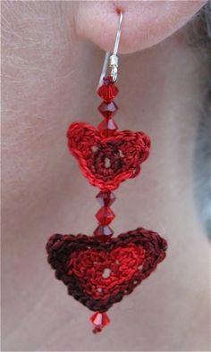 (4) Name: 'Crocheting : Lobes of Love Valentine Heart Earrings...free pattern!