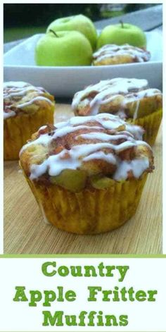 Country Apple Fritter Muffins - Fluffy, buttery, white cake muffins loaded with chunks of apples and layers of brown sugar and cinnamon swirled inside and on top. Apple Desserts, Apple Recipes, Easy Desserts, Baking Recipes, Dessert Recipes, Baking Breads, Quick Dessert, Fall Recipes, Lemon Raspberry Muffins