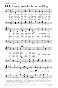 Angels, from the Realms of Glory. [Glory to God: the Presbyterian Hymnal page Great Song Lyrics, Songs To Sing, Music Lyrics, Music Songs, Christmas Songs Lyrics, Christmas Sheet Music, Mother Song, Church Songs, Song Words