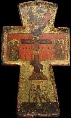 Cross - Crucifixion with the image of St. Trinity and the Guardian Angel. Religious Images, Religious Icons, Religious Art, Early Christian, Christian Art, African Origins, Russian Icons, Christian Symbols, Byzantine Art