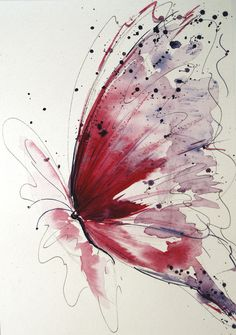 Watercolour paintings – Red butterfly, Butterfly painting, Original – a unique product by Radikacolours on DaWanda