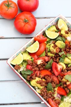 Taco Salad Recipe by Rainbow Delicious {Paleo + Whole30 Friendly} Perfect healthy dinner idea for the whole family.