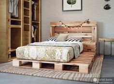 Pallet Bed - The Twin Size - Includes Headboard and Platform - Wooden Pallet Beds, Pallet Bed Frames, Diy Pallet Bed, Wooden Bed Frames, Diy Bed Frame, Pallet Wood, Bed Pallets, Diy Queen Bed Frame, Wooden Crates Under Bed