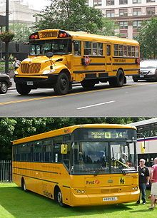 School bus design compared: A typical North American school bus (top) and a typical school bus from the UK. (bottom) Both buses are operated by First Student.