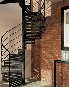Escalier hélicoïdal en acier avec contremarche type collection Graphique pour décoration style industriel ou loft - Modèle déposé - © Photo : Pierre-Yves BAUDOIN - ESCALIERS DÉCORS®