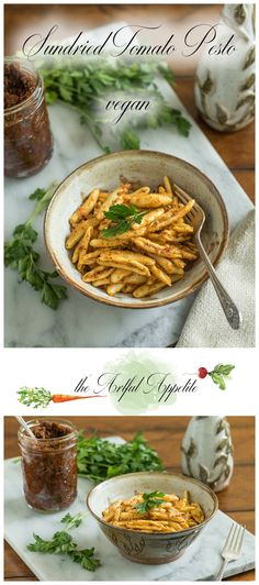 This vegan sun dried tomato pesto is perfect as a pasta sauce or spread over sliced bread. Delicious and or so easy to throw together! Best Pasta Recipes, Sauce Recipes, Vegan Recipes, Delicious Recipes, Vegan Sauces, Noodle Recipes, Top Recipes, Simple Recipes, Summer Recipes