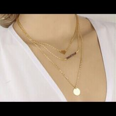White Pearl 3 layers New Fashion Clear Gold Round &Triangle 3 Layer Chain Bar Necklace Beads and Long Strip Pendants Necklaces Jewelry Other