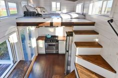 Tiny Living Ltd. delivers a gorgeous tiny house on wheels with the dreamiest interior. Great for a guest house. Tiny House Loft, Tiny House Living, Tiny House Plans, Tiny House Design, Tiny House On Wheels, Small Living, Living Room, Tiny House Movement, Tiny House Company