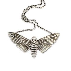 The Wildness Jewellery - Death Moth Pendant ($250) found on Polyvore featuring women's fashion, jewelry, necklaces, accessories, handcrafted jewelry, butterfly pendants jewelry, chains jewelry, handcrafted jewellery and butterfly pendant