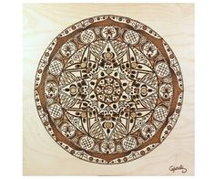 "Mandala on wood for meditation. Sacred geometry, flower of lotus, energy of healing. Pyrography, decoration wood 11.82"" x 11.82"""