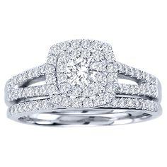1 Diamond Engagement Cushion Halo Wedding Ring Trio Set White Gold (H/I, Double Halo Engagement Ring, Engagement Wedding Ring Sets, Engagement Ring Settings, Princess Cut Wedding Rings, Wedding Band, Wedding Shit, Gold Wedding, Wedding Ceremony, Wedding Stuff
