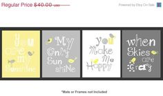 ON SALE 40 OFF Yellow and Gray Nursery Art Prints by LittlePergola, $24.00