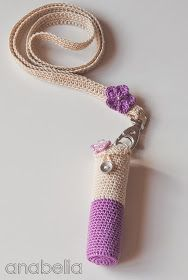 Lipstick crochet case with neckband by Anabelia